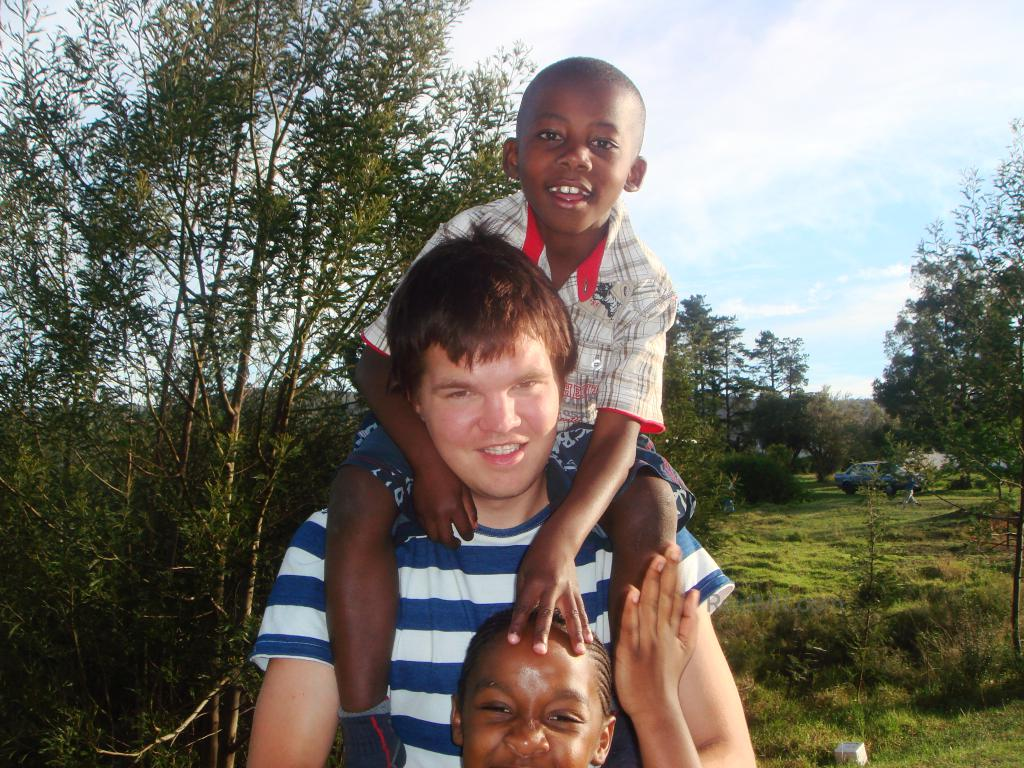 Me with one of the students on my shoulders