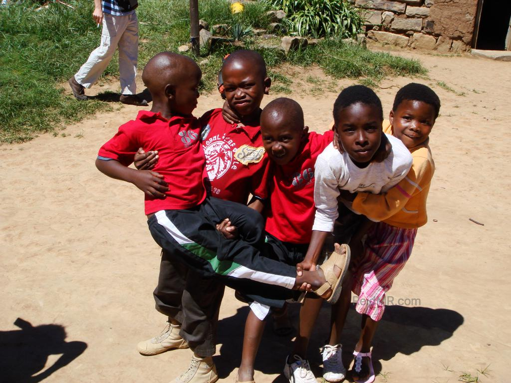 Lesotho schoolchildren gathered together and playing