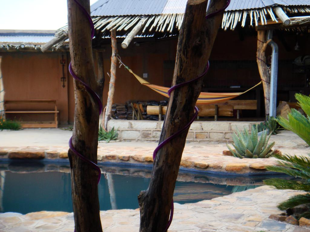 Hostel where I stayed, with pool and hammock