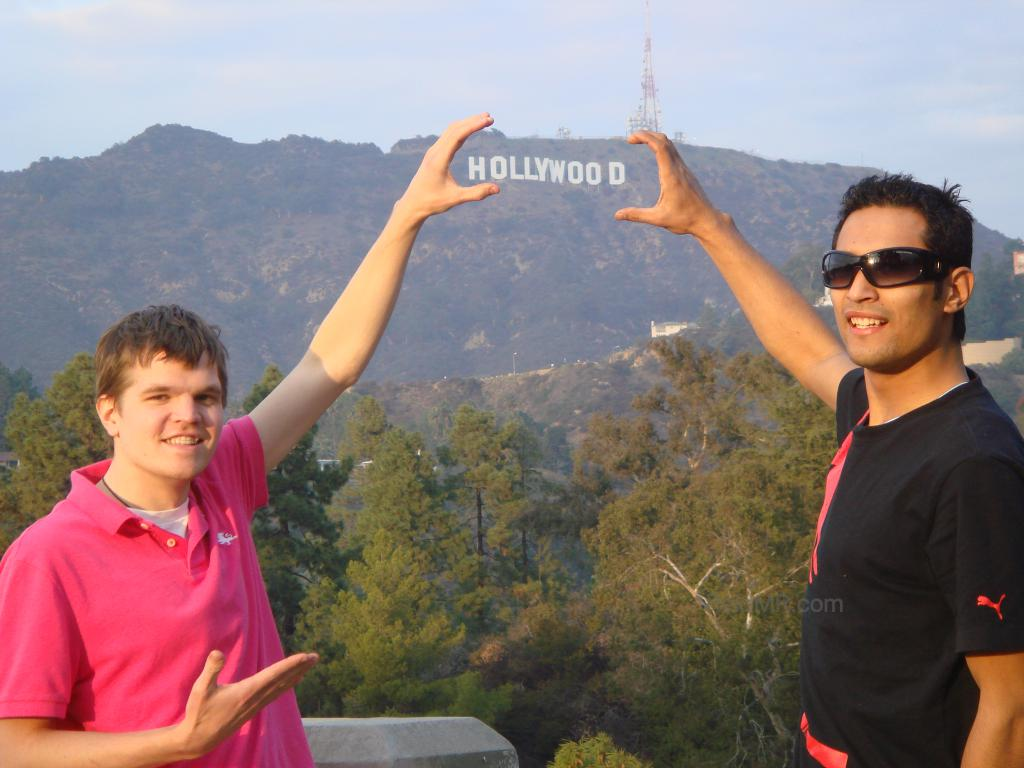 Me and Sumedh posing with the Hollywood sign behind
