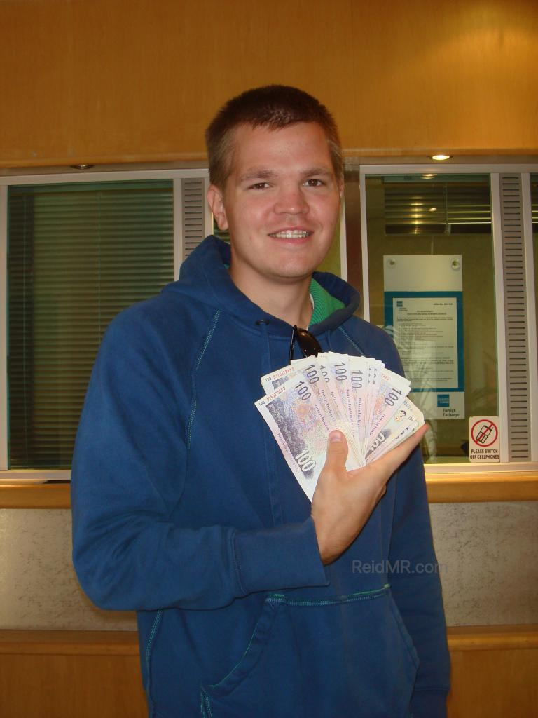 Me posing with the money I just exchanged, feeling rich with the South African rand!