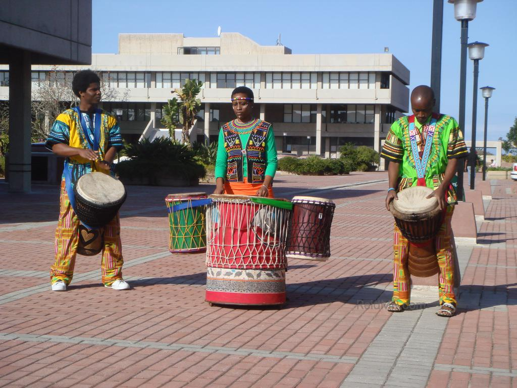A group of South Africans playing for the international students on campus.