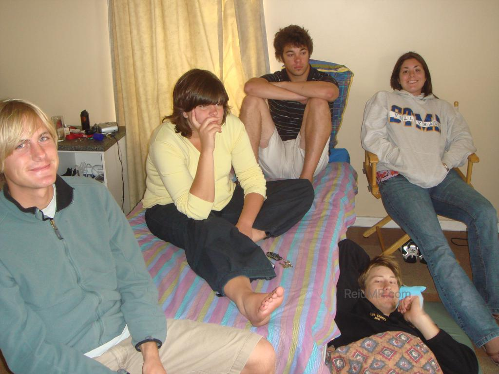 Sitting in Duncan's room, a typical scene with people sitting on his bed and floor.
