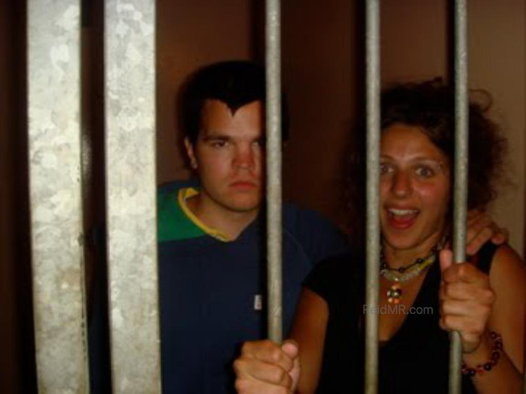 Carly and I behind bars in jail!