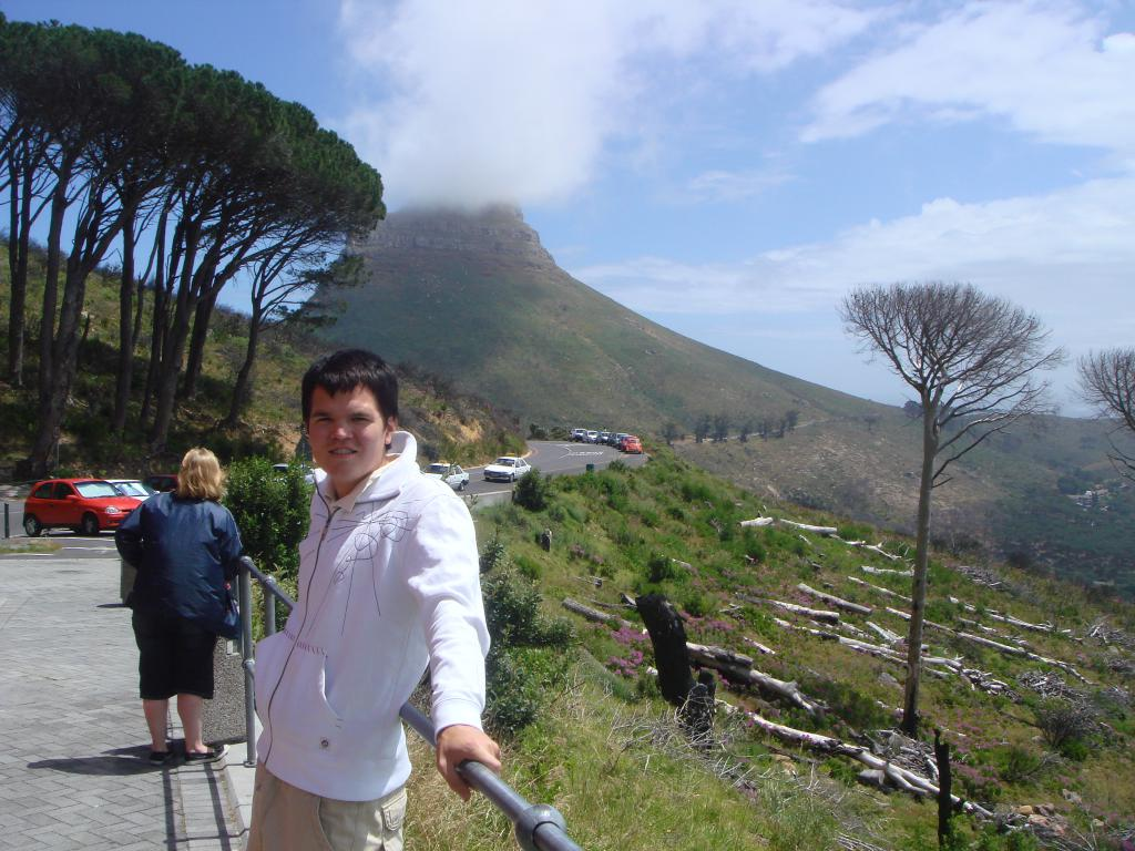 Signal Hill in Cape Town South Africa, a small mountain with me in the foreground.