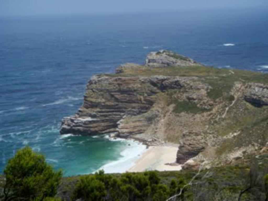 Cape of Good Hope, at Cape Point. Mountainous and rocky overview with ocean in background.