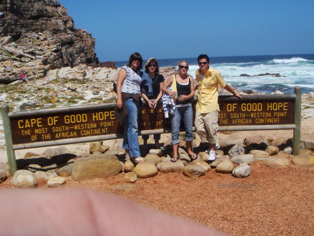 The four of us at the Cape of Good Hope sign.