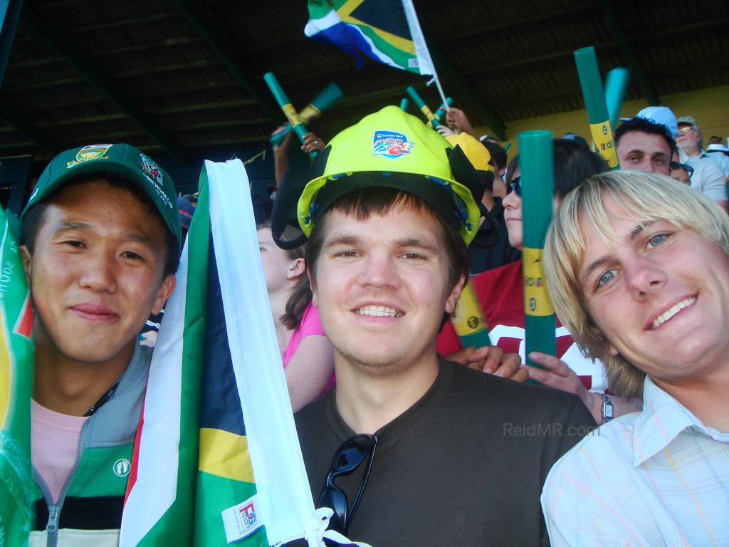 Matsu, me, Eric at my first professional game, Cricket