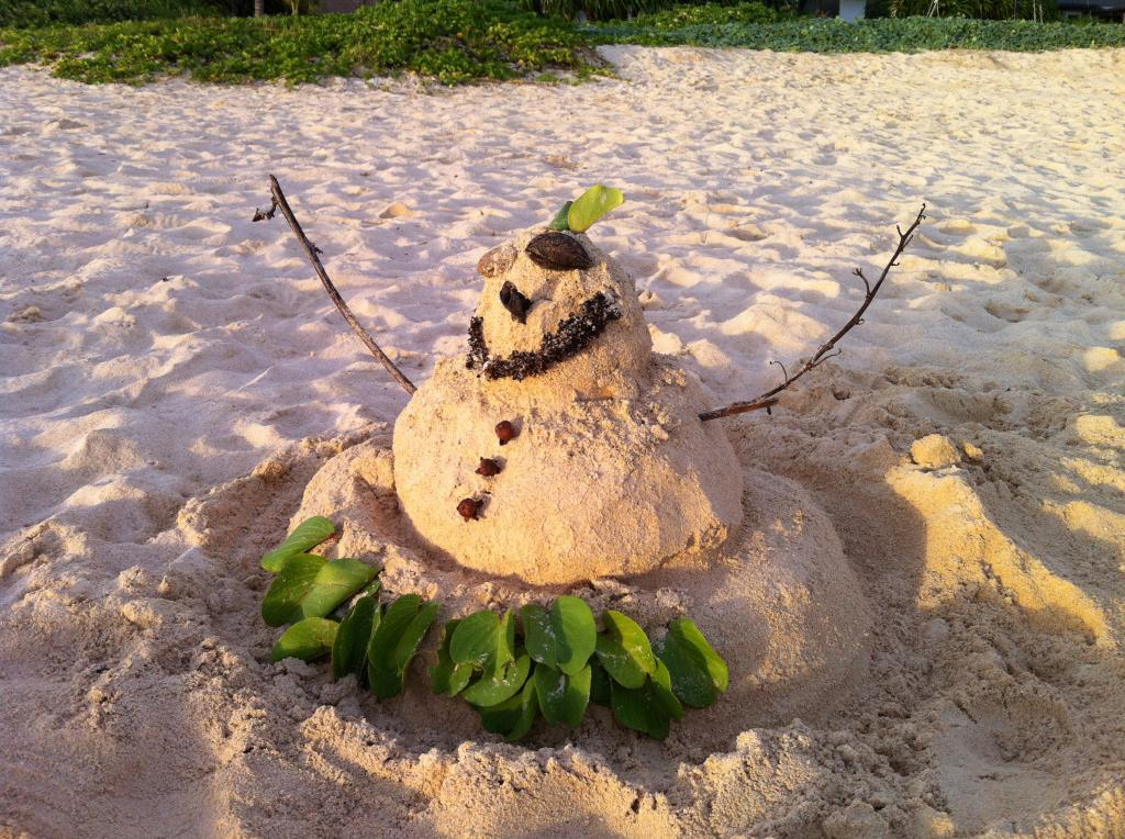 A sandman on Kailua Beach. Instead of a snowman, someone made a sandman