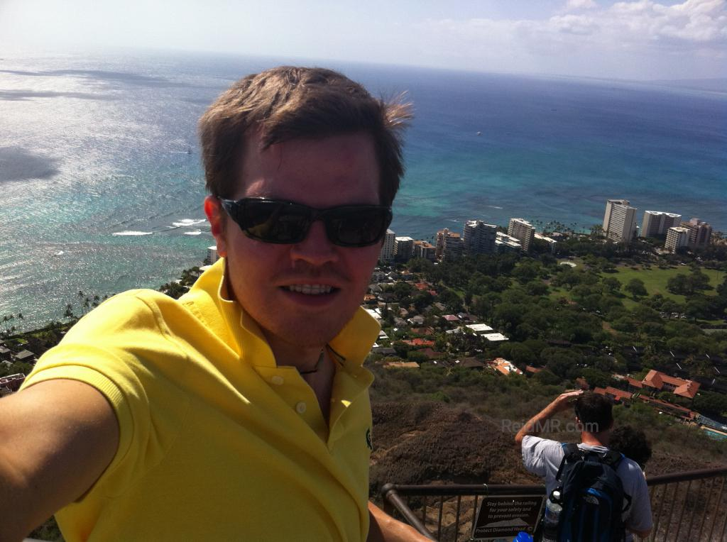 Me with Waikiki and ocean in the background from the Diamond Head Crater