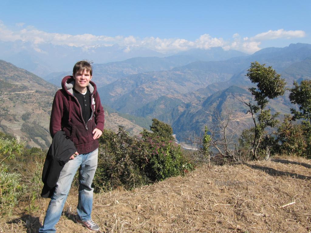 On our day trip to Dolakha Bhimsen, me posing with mountains in background