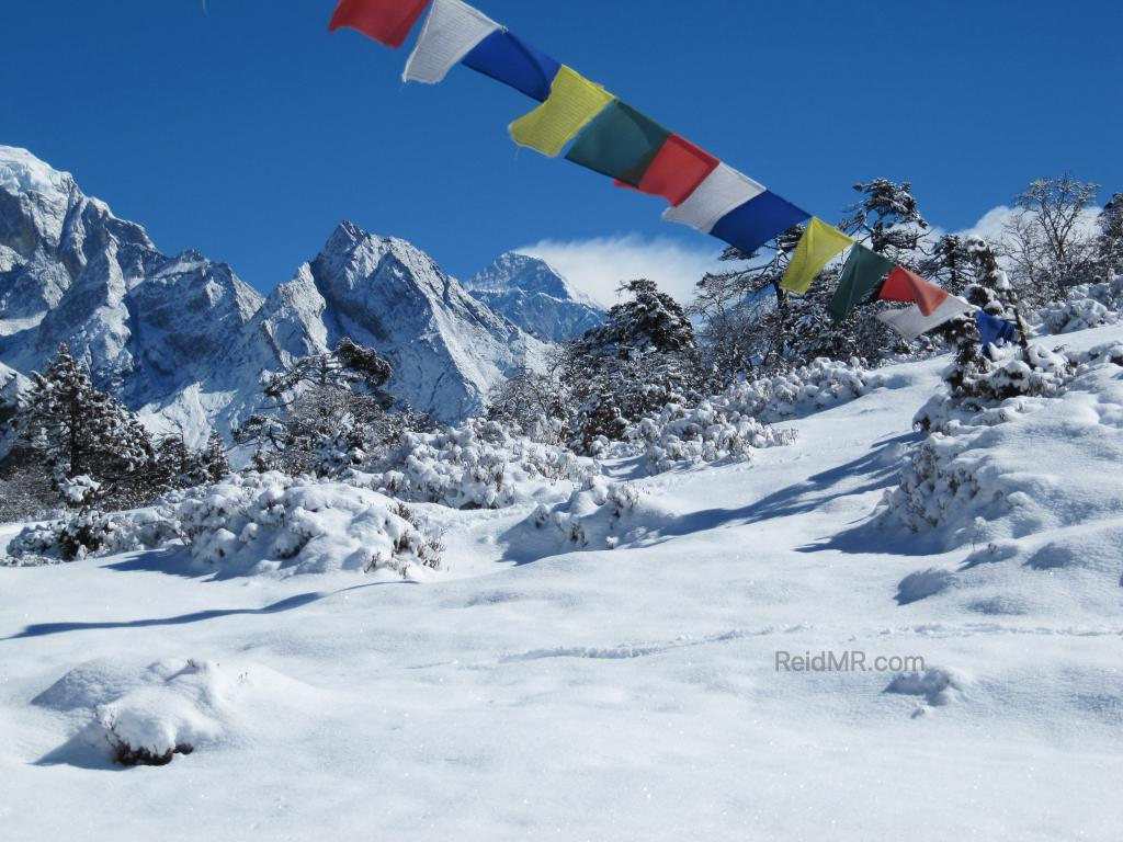 View of Mt. Everest with prayer flags in foreground