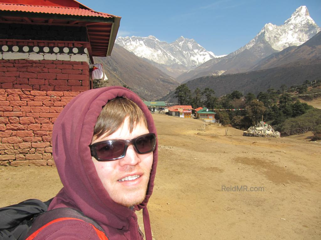 At Tengboche with Everest. Posing for a photo.