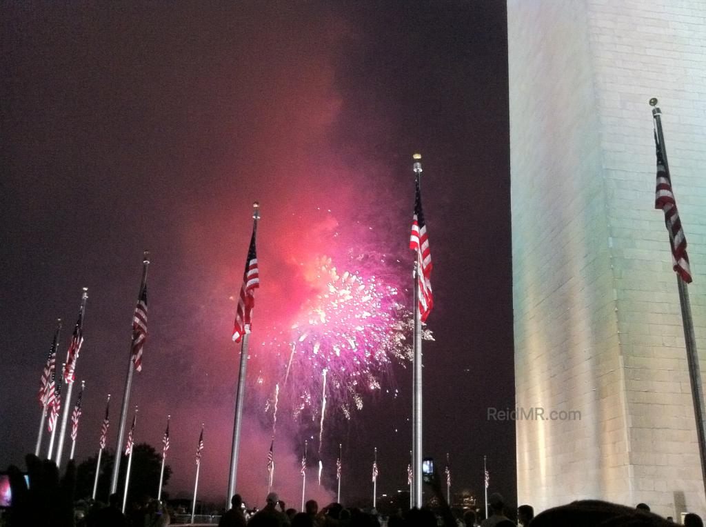 July fourth fireworks with the Washington Monument