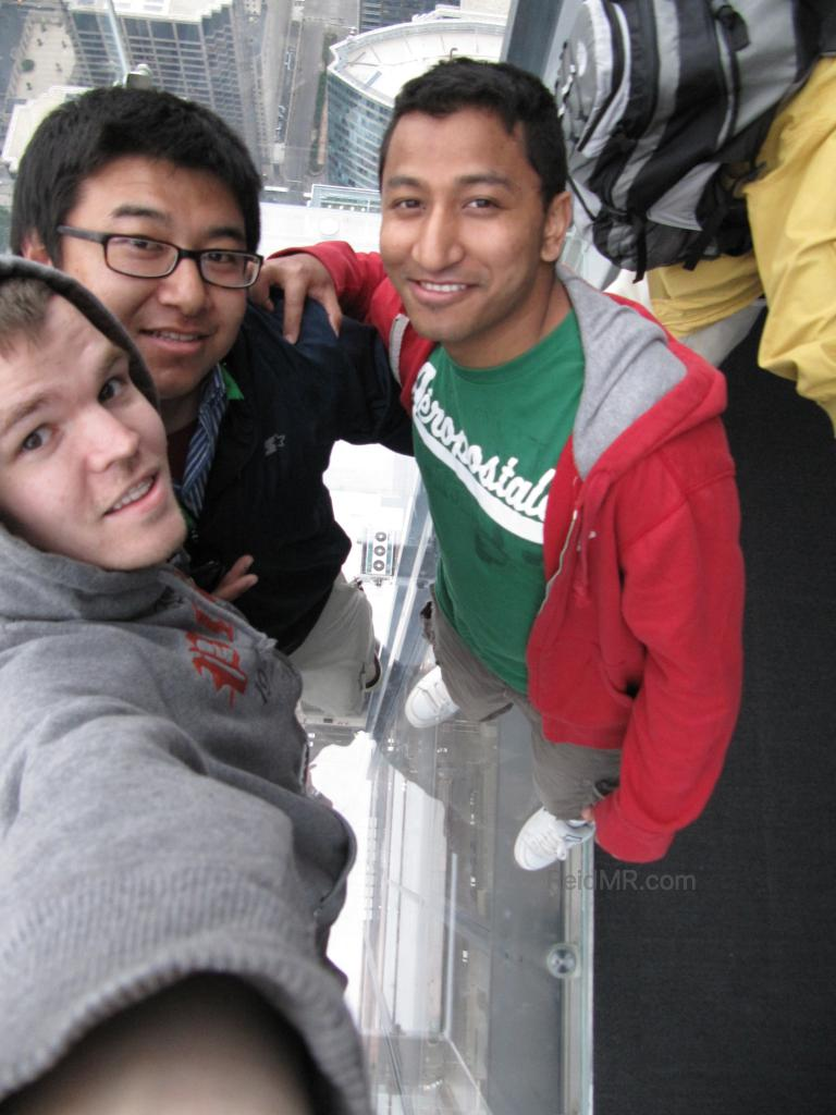 Me, Arbin, Shiva on the glass platform in the Willis Tower