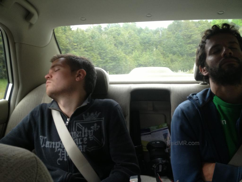 Alberto and I sound asleep in the back of the car. Image copyright 2013 by Laura or Kate and used with permission.