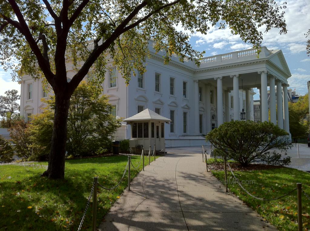 White House side view inside the gate