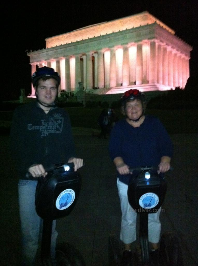 Me, Mom outside of the Lincoln Memorial on the Segways