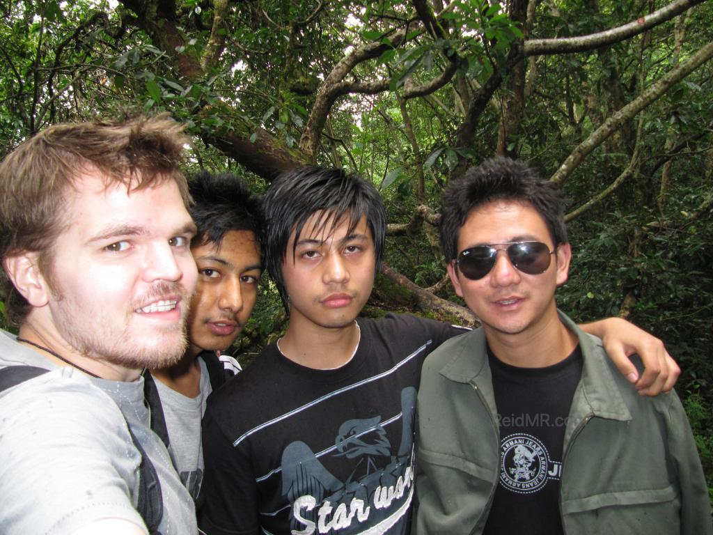 Rojesh and friends, with me. In the wooded area.