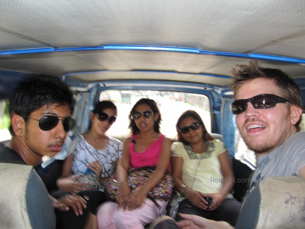 Rojesh, Urika, Rojina, Likee and I in the back of the small van