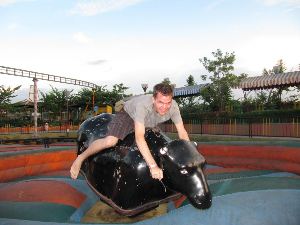 Me riding the mechanical bull.