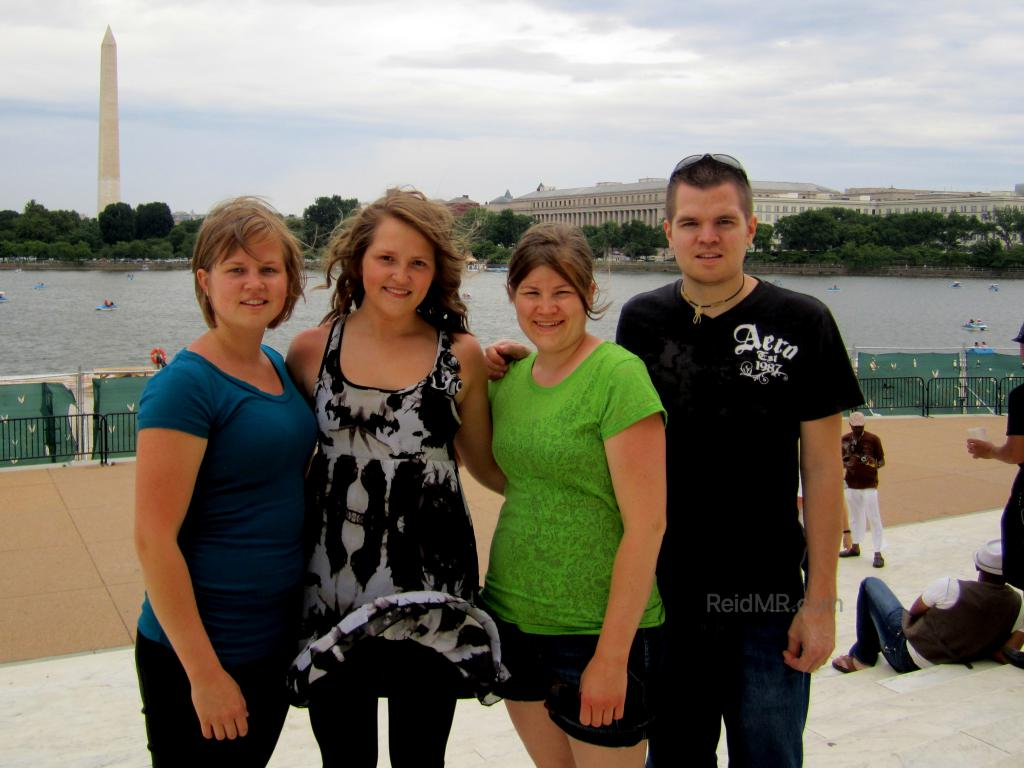 Lacey, Kate, Brittany, and I posing for a photo near the Jefferson Memorial. (C) 2011 - Lacey. Used with permission.