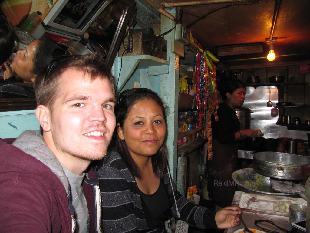 Likee and I in Darjeeling momo shop, a small shop