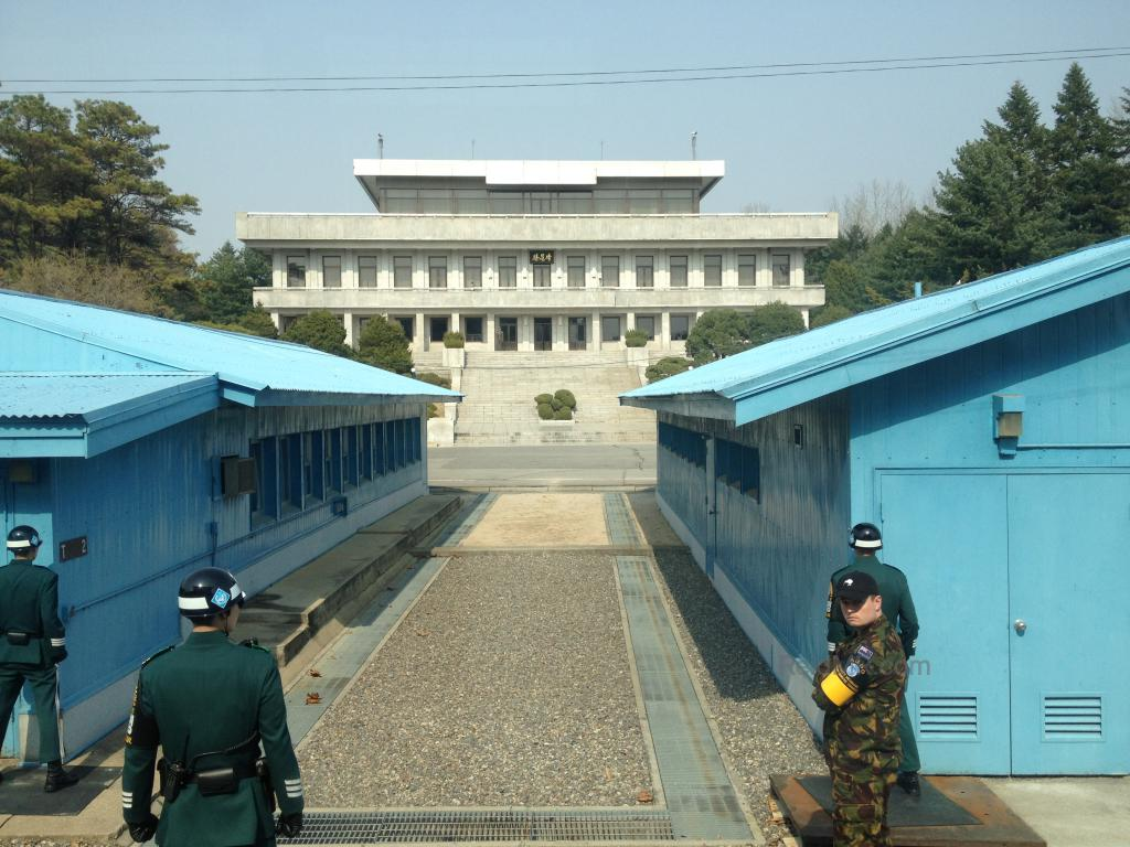 Panmungak building in North Korea, with the Blue Buildings on the border