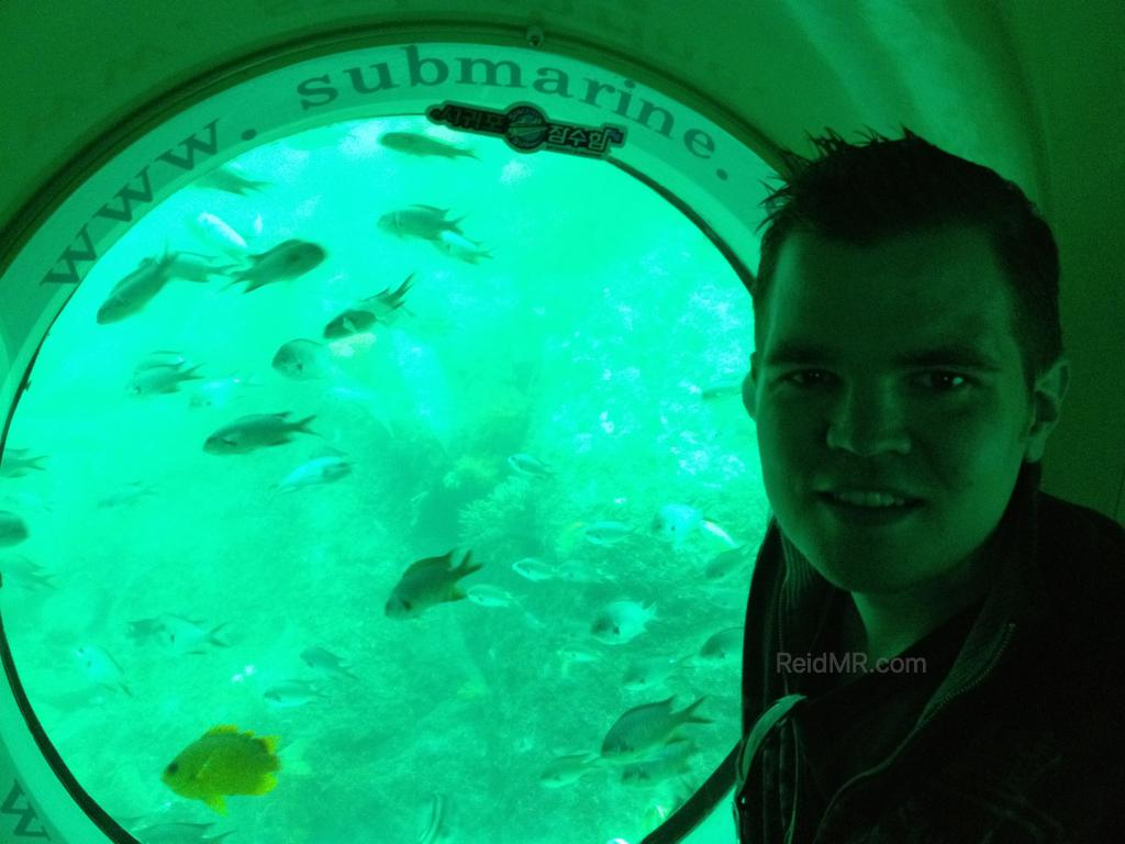 Me in the submarine with fish outside of the window
