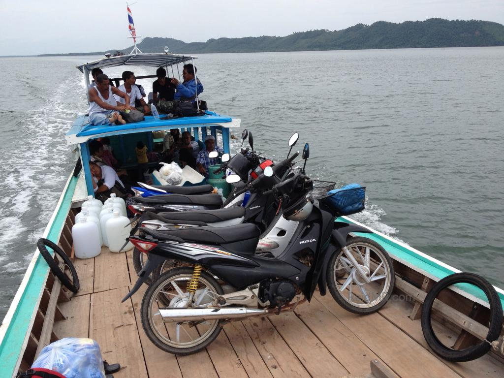 The small ferry used to access Koh Jum packed with motorcycles and people