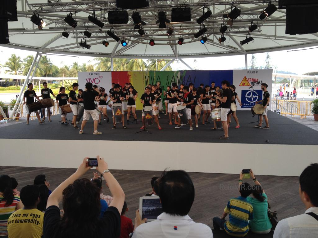 A free performance by university students on the roof of a shopping mall
