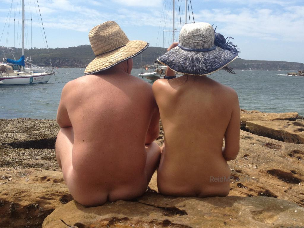 A couple at the nude beach near Mosman.