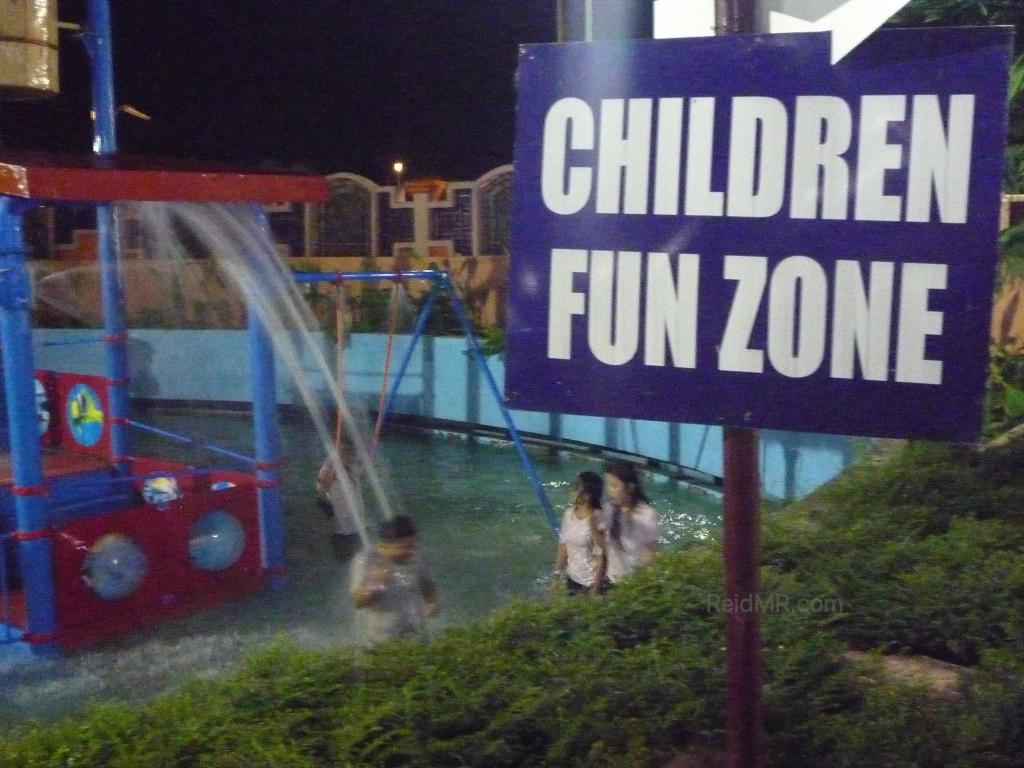 Children fun zone sign, with all of us playing in it