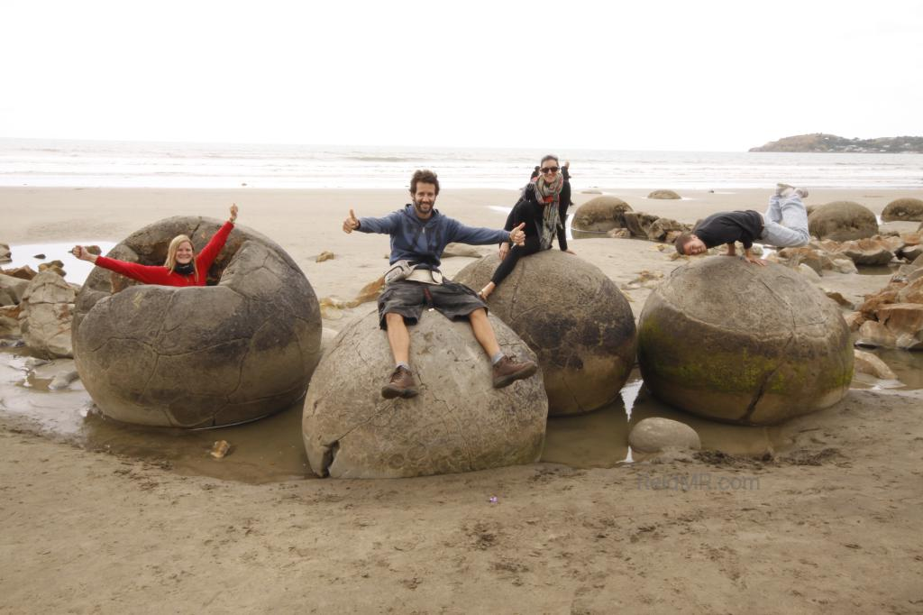 Laura, Alberto, Kate, and I at the Moeraki Boulders. Image copyright 2013 Alberto Rada, used with permission.