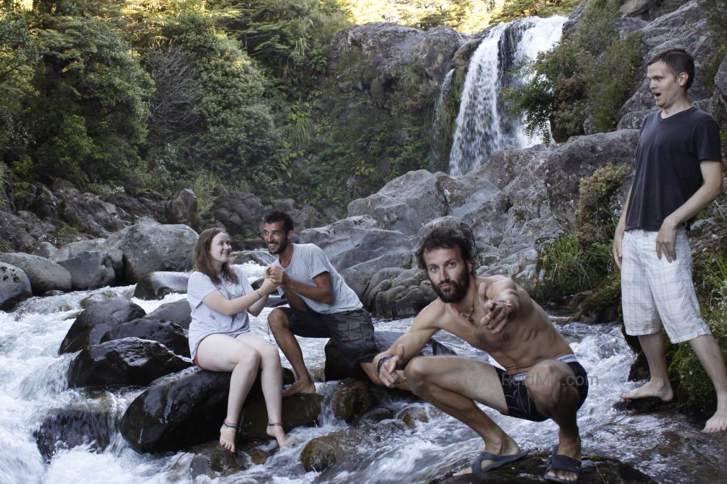 Sophie, Nico, Alberto, and I posed for a silly photo with a waterfall in the background. Image copyright 2013 Alberto Rada, used with permission.